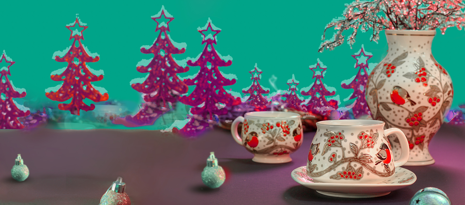 winter handmade ceramic tea set